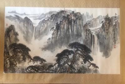 解维础作品(已售),泰山松云图